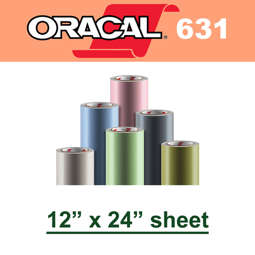 "Oracal 631 Matte Removable Adhesive Vinyl Film 12"" x 24"" Sheet"