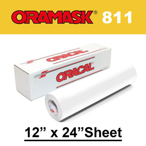 "Oracal 811 12"" x 24"" Paint Mask Stencil, Opaque White"