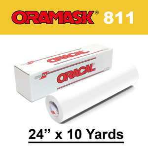 "Oracal 811 24"" x 10yds Paint Mask Stencil, Opaque White"