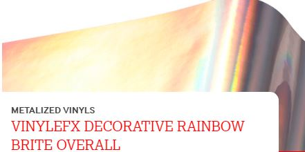 "METALIZED 24"" X1YD VINYLEFX DECORATIVE RAINBOW BRITE OVERALL"