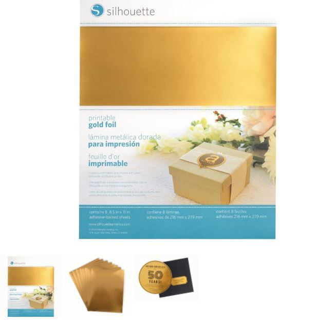 graphic about Printable Gold Foil named PRINTABLE GOLD ADHESIVE FOIL [MEDIA-GLD-ADH] - $14.99 : Indication
