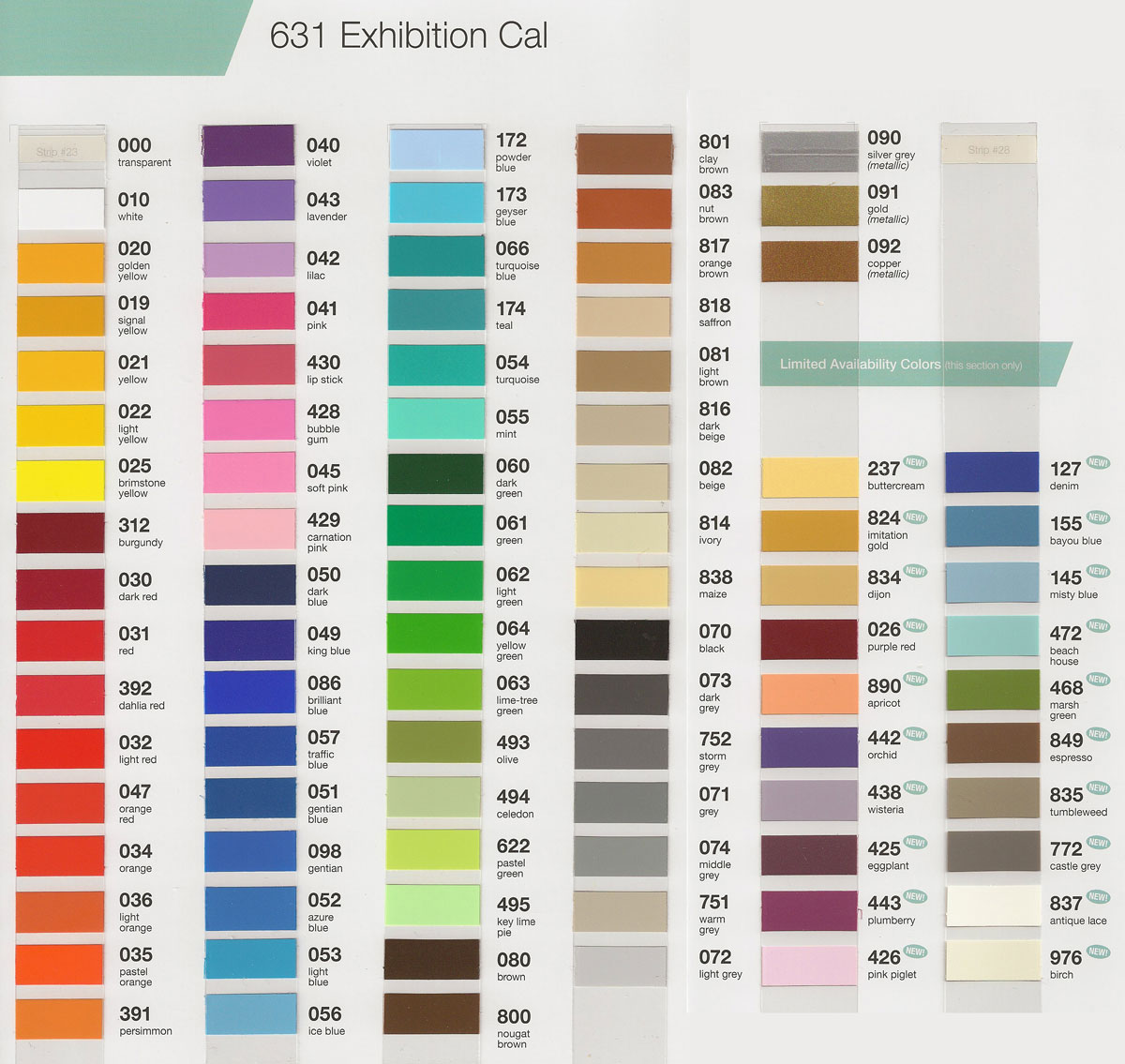 oracal 631 color chart