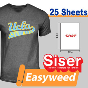 "Siser Easyweed 12"" x 20"" x 25 Sheet over 20 colors"