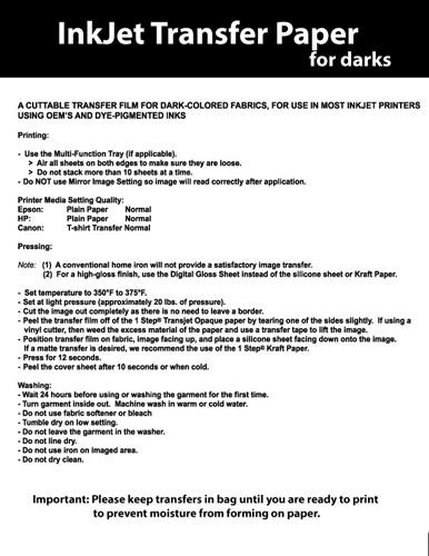 dark iron on transfer paper instructions