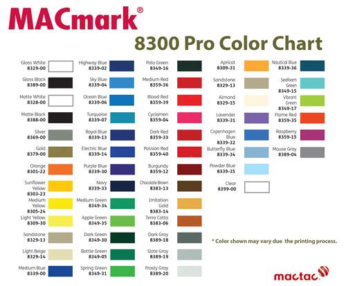MACTAC Vinyl 6 Colors 24 X 5yd Each 12 Premask Package