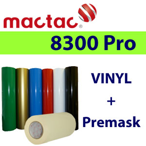 MACTAC vinyl 6 colors 24'' x 2yd each & 6'' Premask package