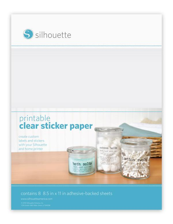 Printable Inkjet or laserjet STICKER 8 SHEETS - CLEAR