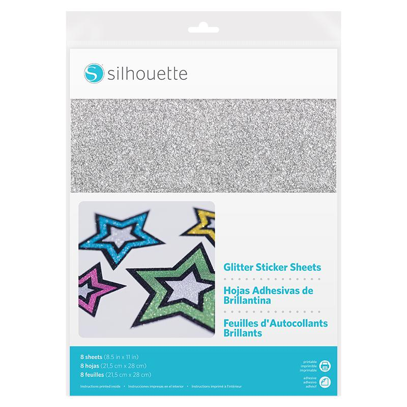 Glitter (Silver) Inkjet or laserjet Printable STICKER 8 SHEETS